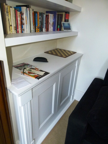 fitted walnut shelves